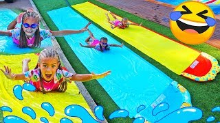 Giselle and Claudia pretend play in summer with pool funny activities for kids by Las rati ...