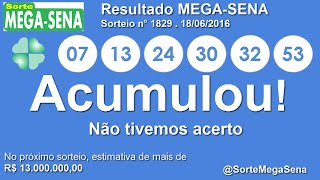 RESULTADO MEGA SENA - 1829 - 18/06/2016 - sábado - Números da Sorte