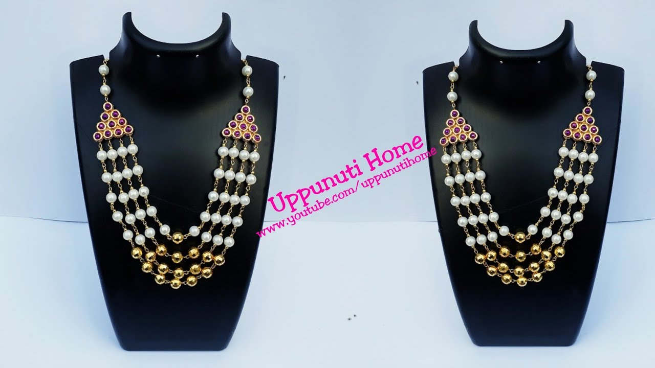 How To Make Designer Pearl Necklace At Home Diy Bridal Necklace Jewelry Uppunuti Home