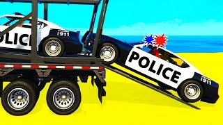 fun police cars transportation in spiderman cartoon for kids and colors for children nursery rhymes