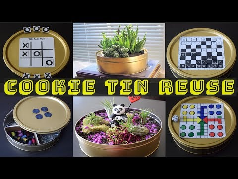 DIY: Best ways to reuse cookie tins| Travel magnetic board games| Planters | Sewing Storage !