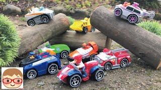 パウパトロールがトミカのはたらくくるまをレスキュー!ごっこ遊び!paw patrol rescue toys