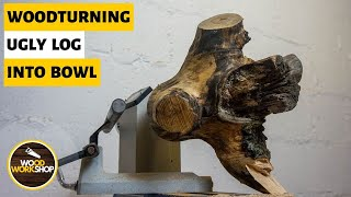 Woodturning: An Ugly Log Into a Not So Beautiful Bowl