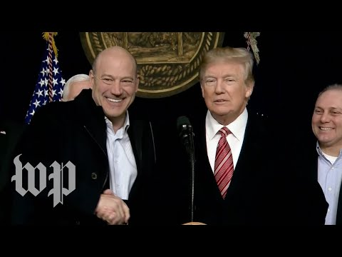 'Are you happy, Gary?': Trump calls Cohn up to podium during speech