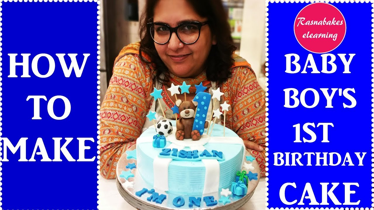 How To Make Baby Boys First Birthday Cakedecorating Tutorial Youtube