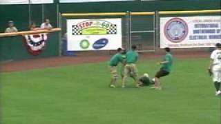 Madison Mallards Fan in Green Morph Suit Streaks