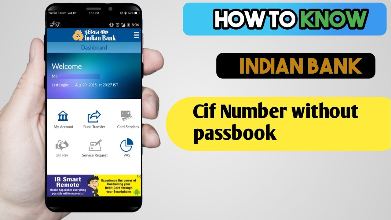 how to find indian bank cif number