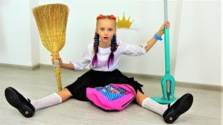 Polina getting ready for School