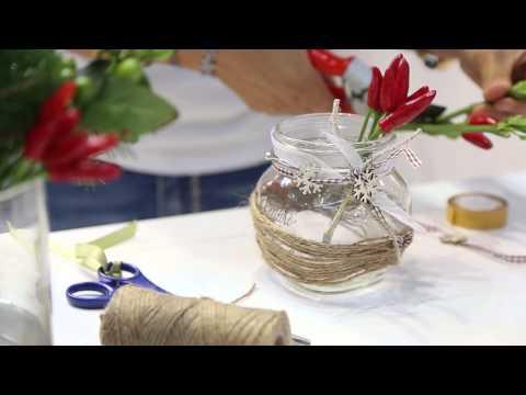 Decorare vasetti di vetro centrotavola natalizio quattro - Centrotavola natale fai da te ...