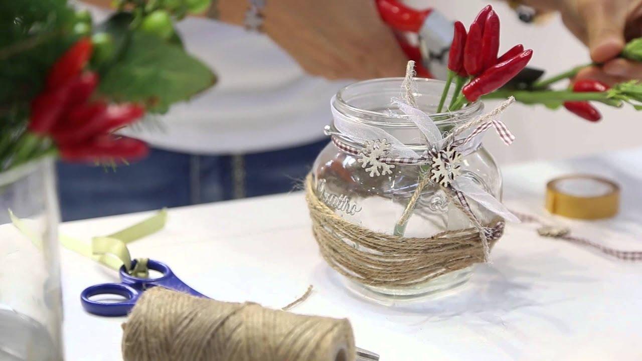 Decorare vasetti di vetro Centrotavola natalizio Quattro