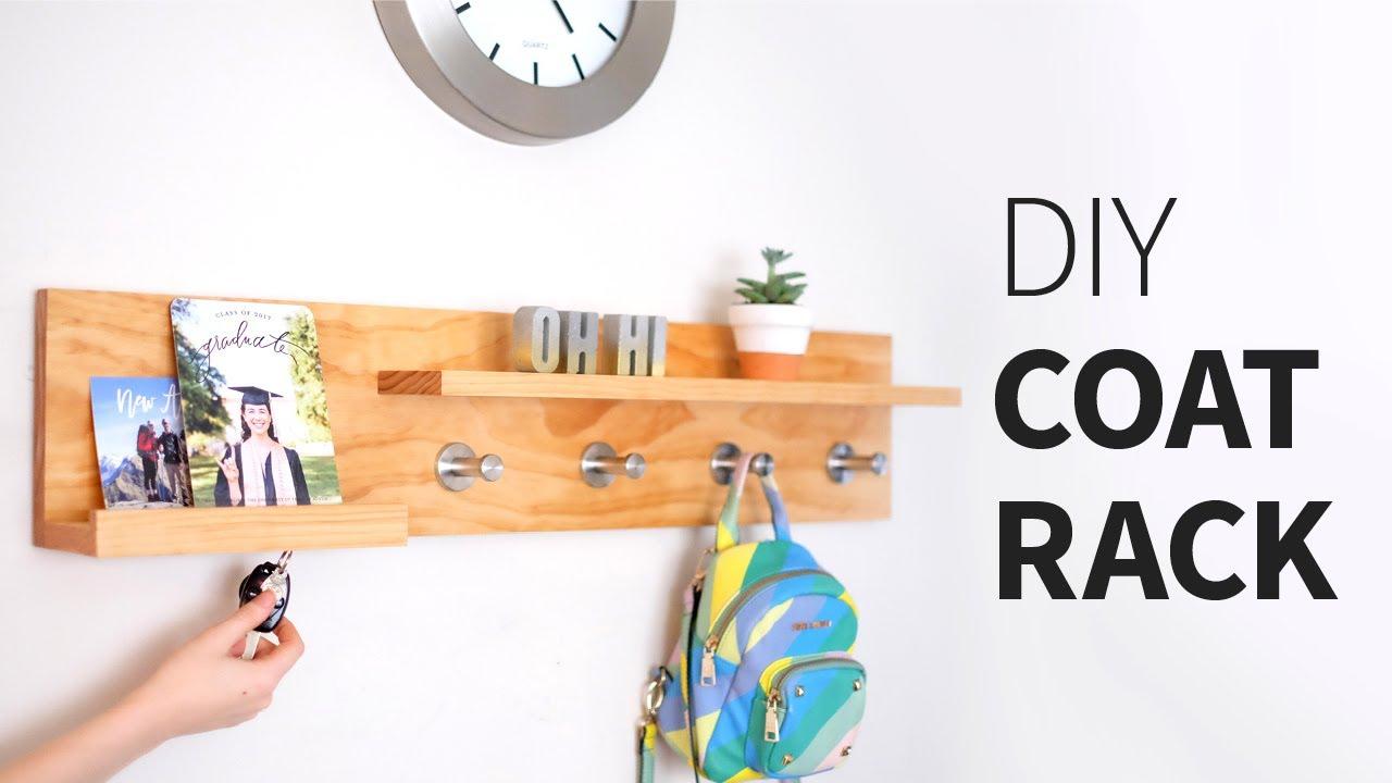 Diy Coat Rack Organizer Shelf Thing Woodworking How To Youtube