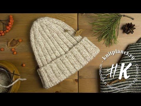 шапка спицами без отворота толстой пряжи простая