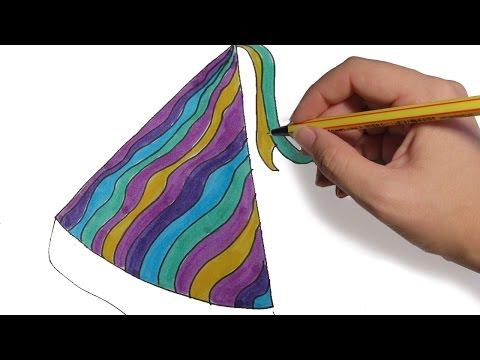 dibujos-de-navidad-gorros-de-fiesta-paso-a-paso:-dibujos-para-niños-faciles-a-color