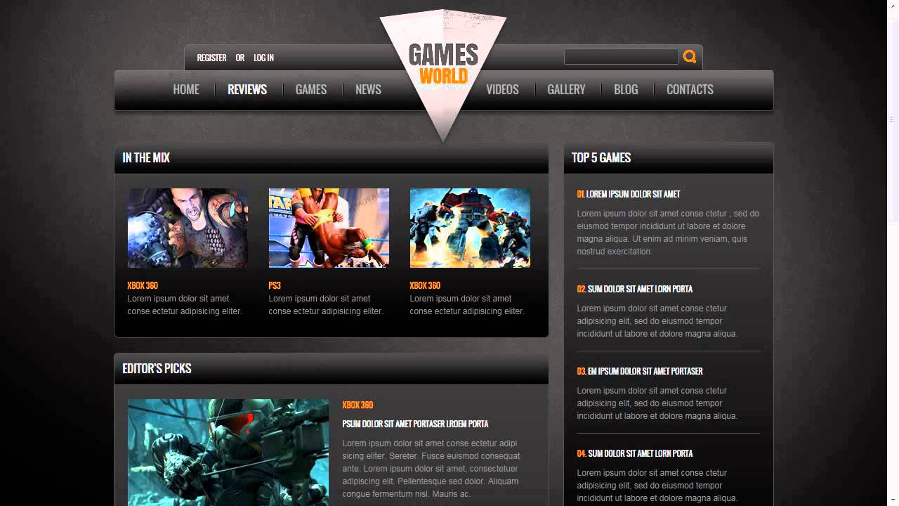 game portal website template youtube