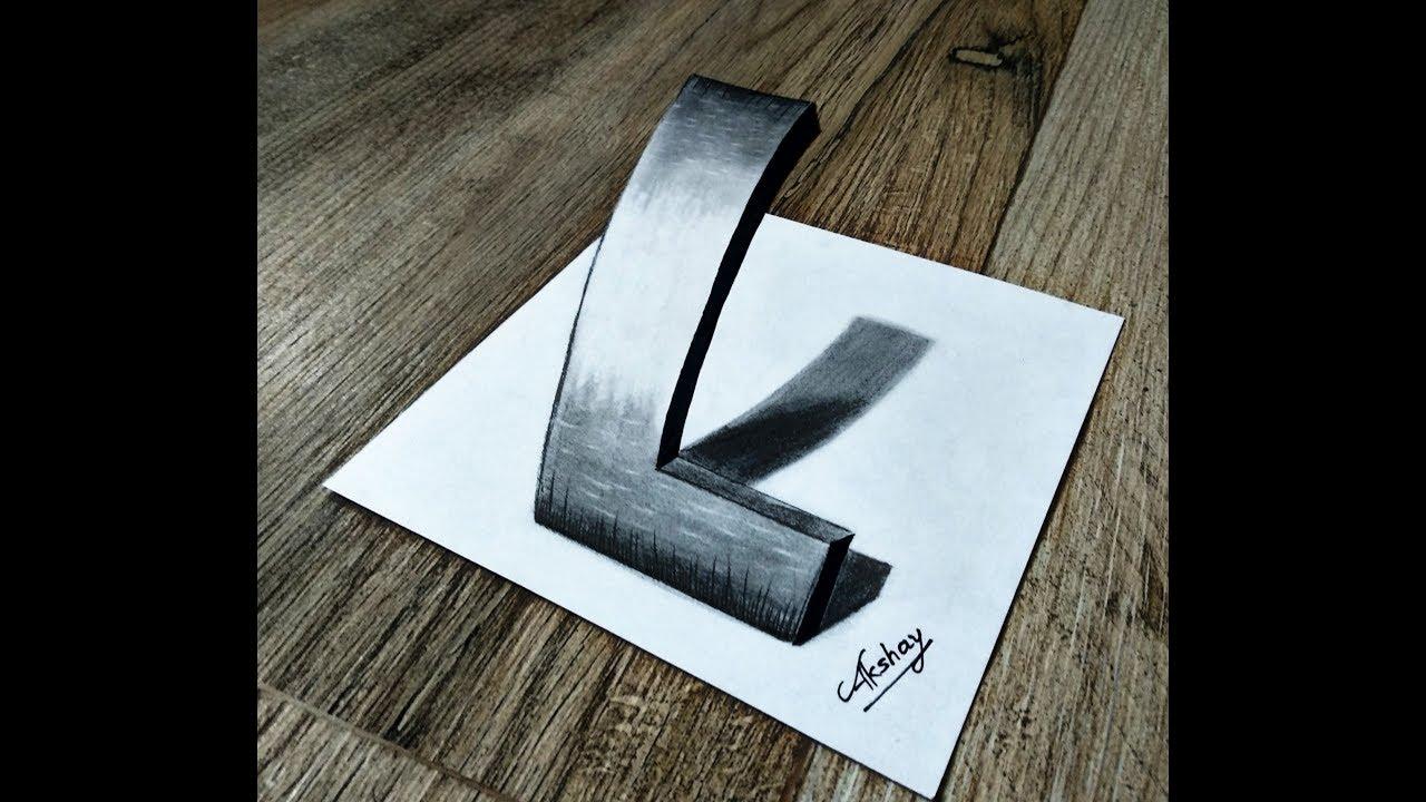 how to draw 3d letter l 3d trick art on paper optical illusion art maker akshay youtube how to draw 3d letter l 3d trick art on paper optical illusion art maker akshay