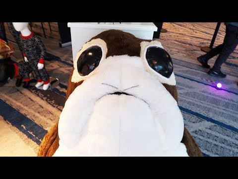 """""""Star Wars: The Last Jedi"""" merchandise display and giant Porg at Los Angeles press junket"""