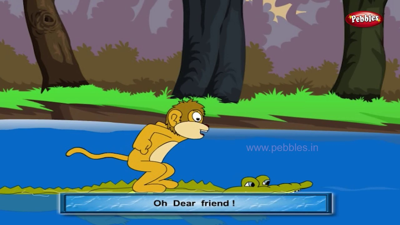 Monkey and Crocodile | Panchatantra English Stories | Stories For Kids |  Stories For Children HD