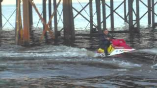 on the jetski at cleethorpes pier. polaris hurricane 1996