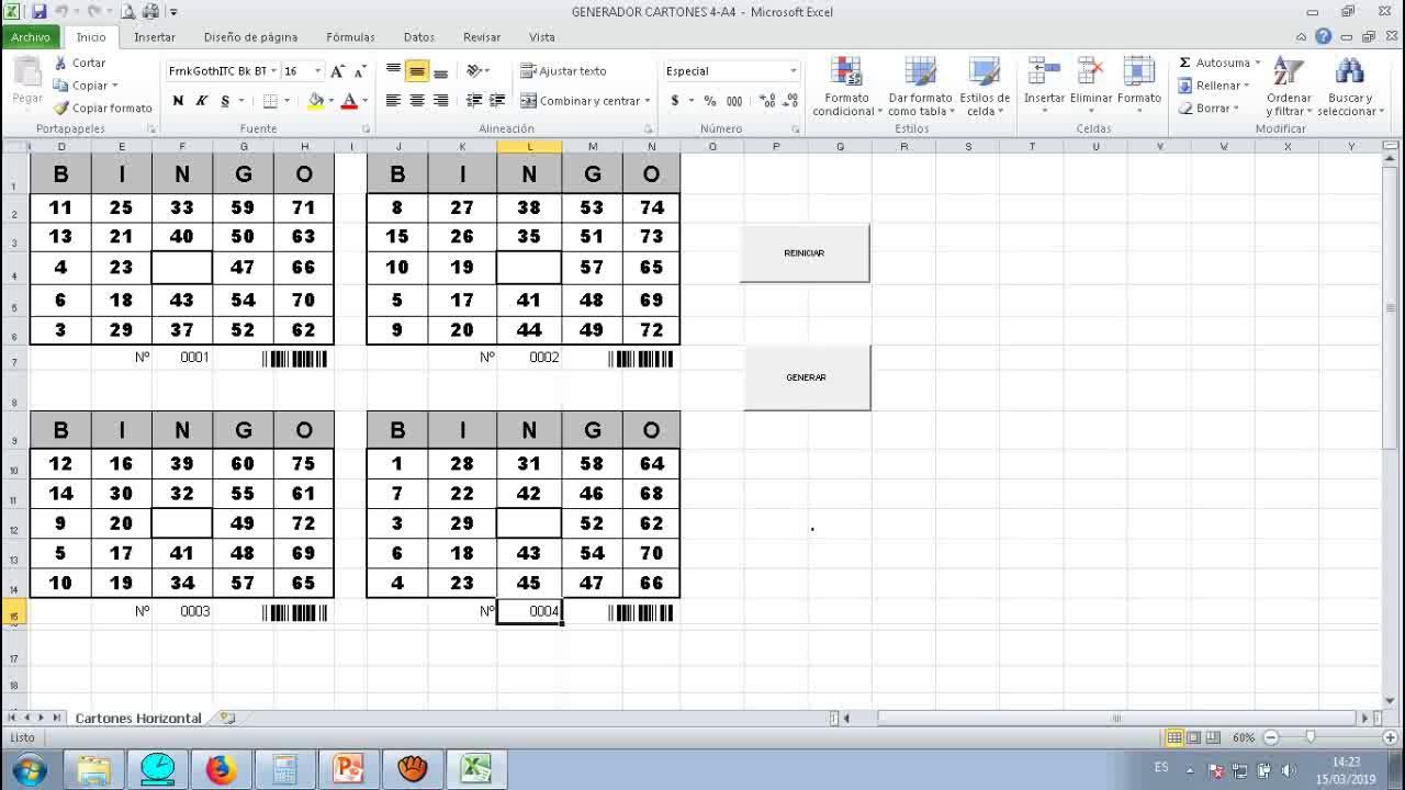 Aplicacion Genera Cartones De Bingo 75 Bolas Youtube