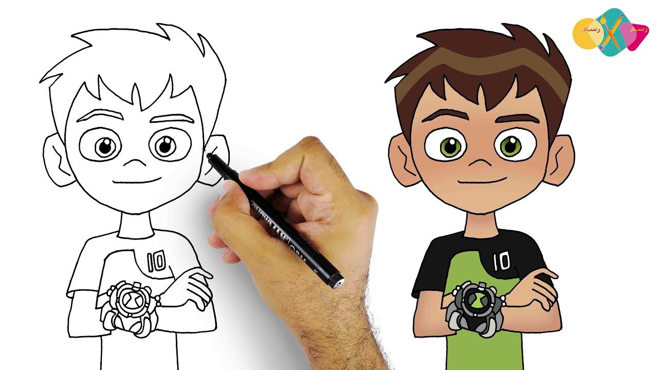 رسم بن تن خطوة بخطوة | تعليم الرسم للمبتدئين || كيف ترسم بن تن