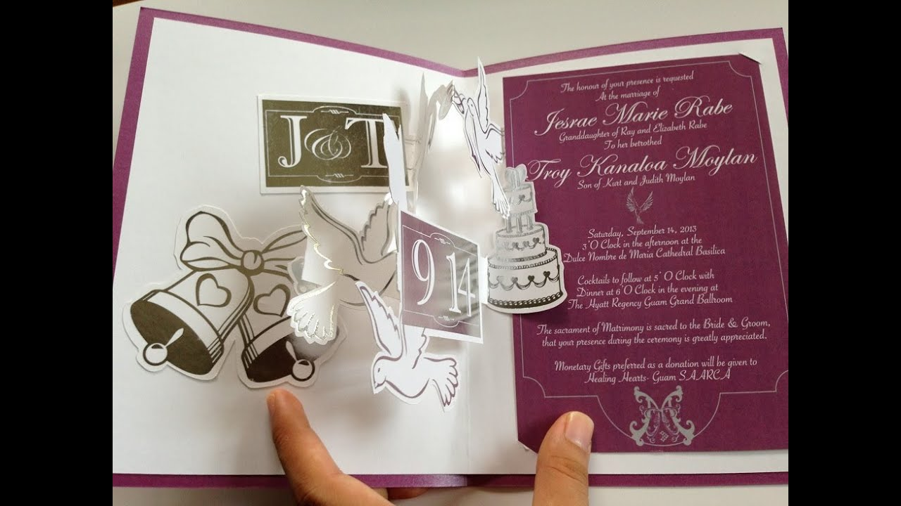 Cakes Doves Accordion Pop Up Wedding Invitation with Silver