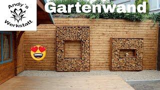 Mauer im Garten verschönern - Holzrahmen mit Holzscheiten / Deko diy