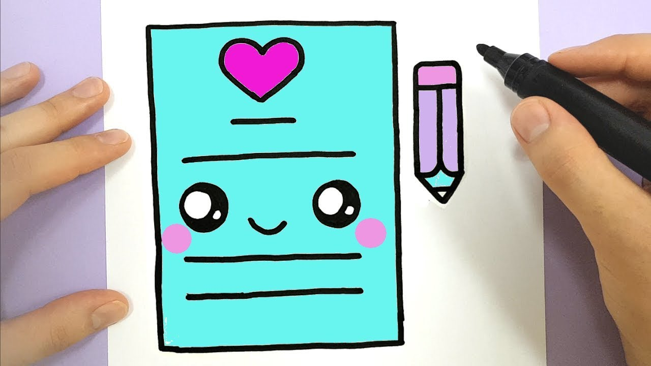 HOW TO DRAW A CUTE LOVE LETTER KAWAII - YouTube