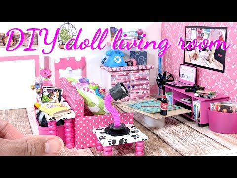 DIY Miniature Living Room Kitchen Combo - Living Room for LOL, LPS, & Small Dolls