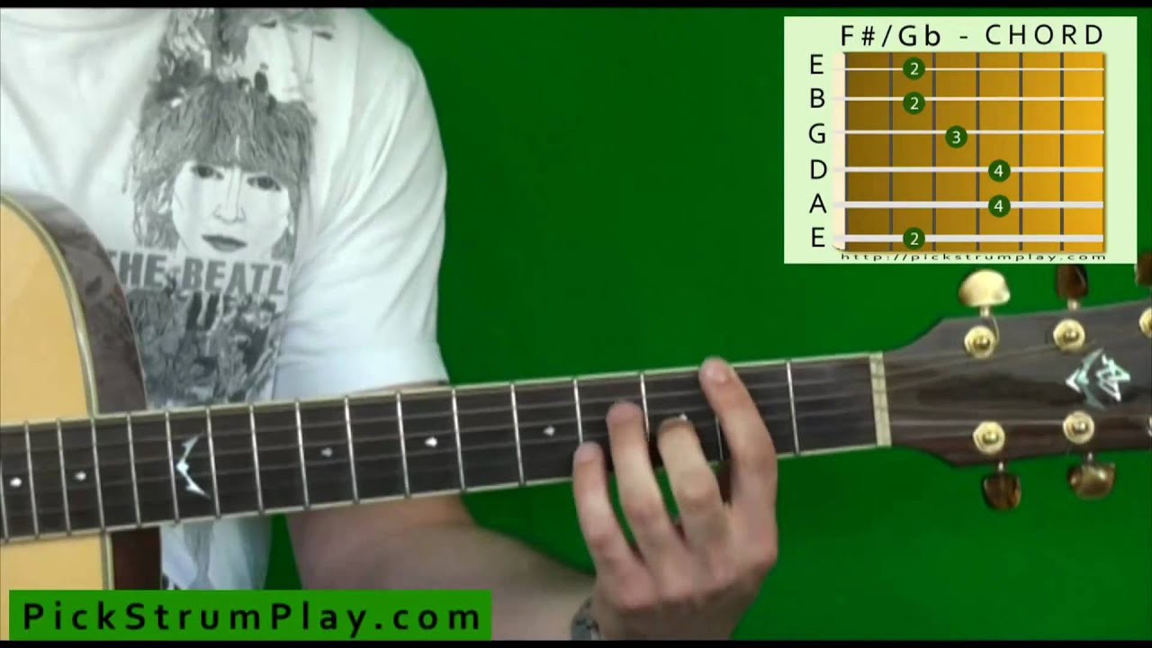 How To Play An F Sharp G Flat Major Chord On Guitar Youtube