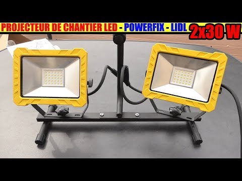Projecteur De Chantier Led Lidl Powerfix 2 X 30w Work
