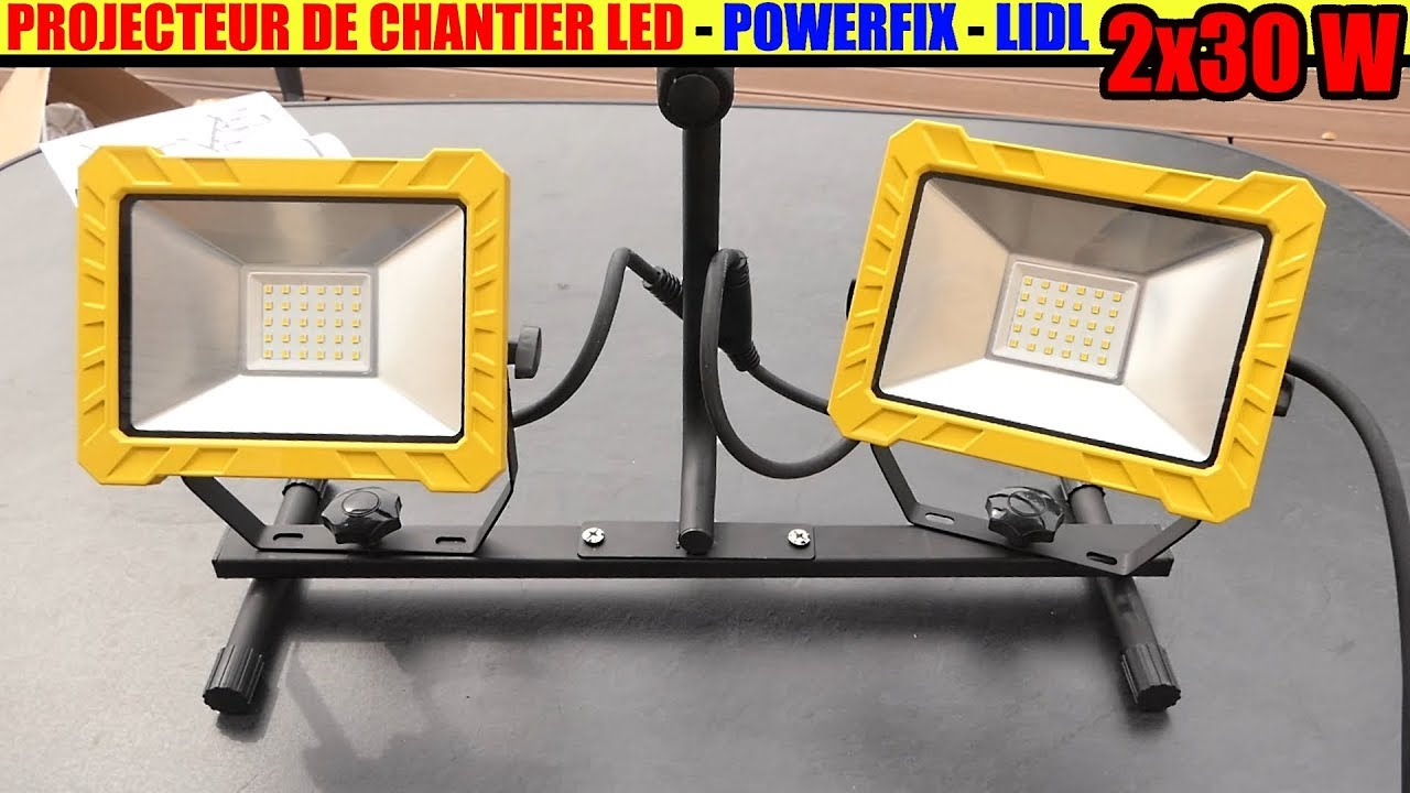projecteur de chantier led lidl powerfix 2 x 30w work. Black Bedroom Furniture Sets. Home Design Ideas