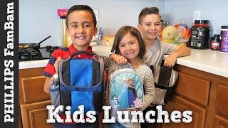 KIDS SCHOOL LUNCH IDEAS #1 | BUNCHES OF LUNCHES | KIDS MAKE THEIR OWN LUNCHES | PHILLIPS FamBam