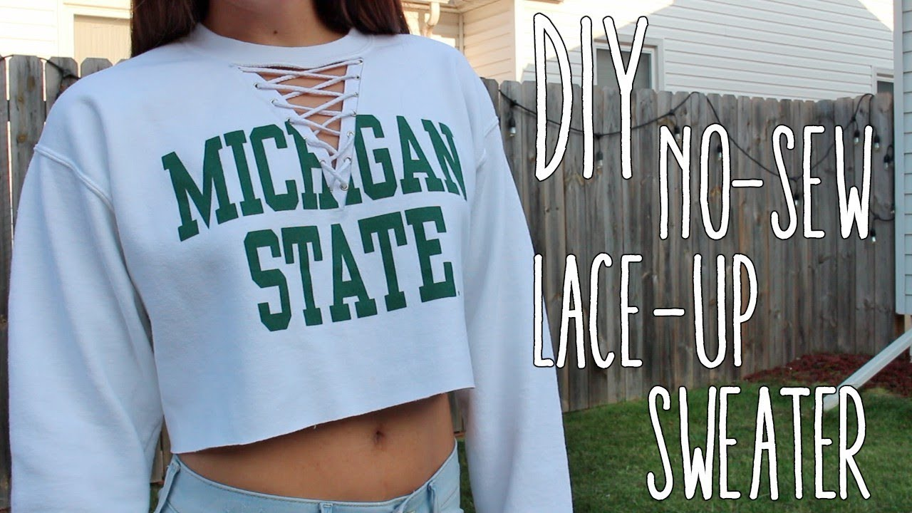 Diy No Sew Lace Up Crop Sweater