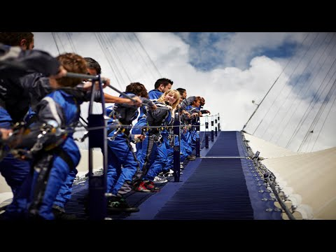 Scary UP AT THE O2 NOW YOU CLIMB OVER THE ROOF OF THE DOME