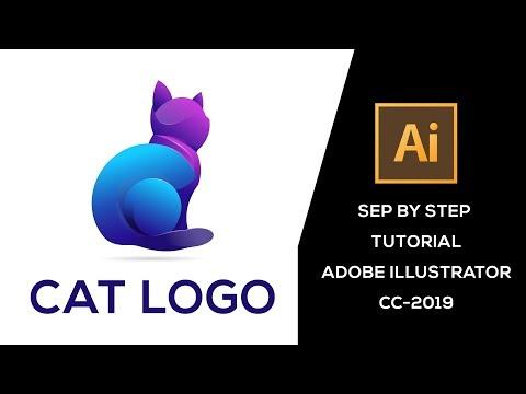 Cat Logo illustrator tutorial for step by step thumbnail