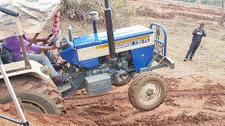 Swaraj 735 FE Power Plus Tractor With Fully Loaded Trolley Pulling   Swaraj Tractors