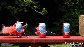 Pellet Rifle vs. Cans in Slow Motion