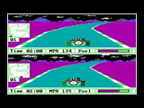 IBM PC Gameplay - Pitstop II - Monaco, 3 laps - with Colour Composite
