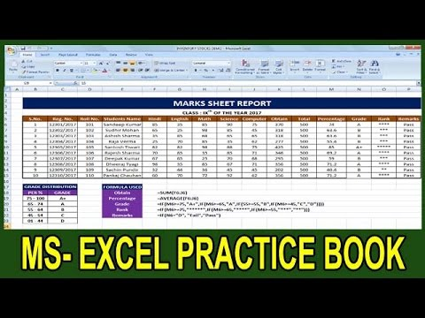 Exercise 35 | Excel Practice Book | How To Make Marks Sheet Report In Ms  Excel