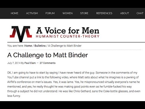 Challenge Accepted: MRA Website A Voice For Men Challenges Matt Binder to Debate
