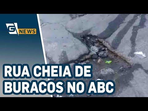 Rua cheia de buracos no ABC