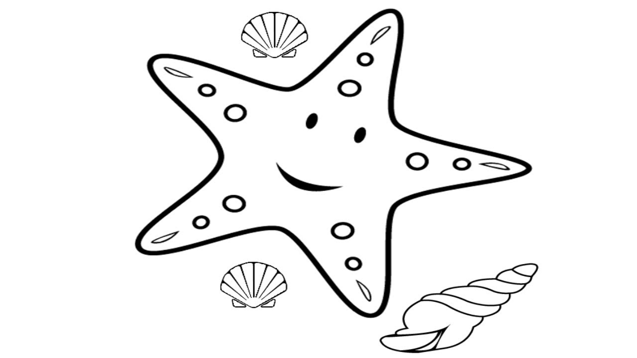 Easy Drawing For Kids | Starfish Drawing | How to Draw ...