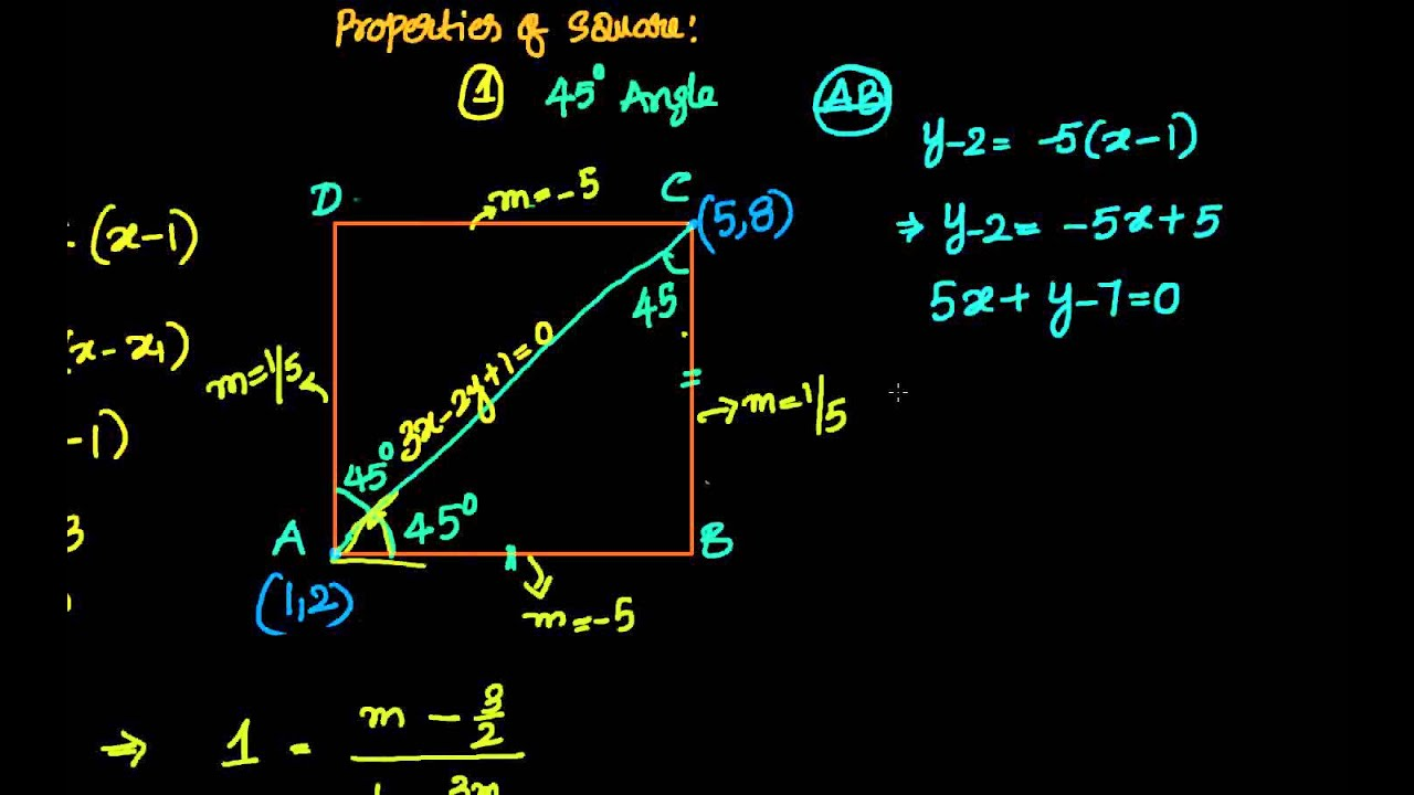 Coordinate Geometry: Straight Lines: Given 2 Opp Vertices Of A Square, Find  The Remaining 2 Vertices