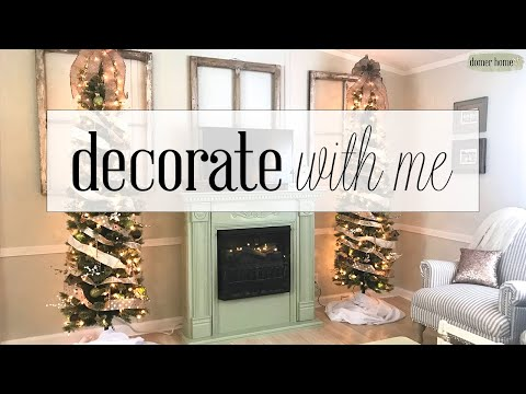 CHRISTMAS FARMHOUSE DECORATE W/ ME | MOBILE HOME LIVING ROOM 2019