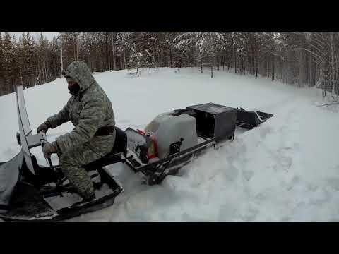 Мотобуксировщик Ураган Сибирь с модулем Толкач. Прогулка по тайге и проверка ловушек на соболя.