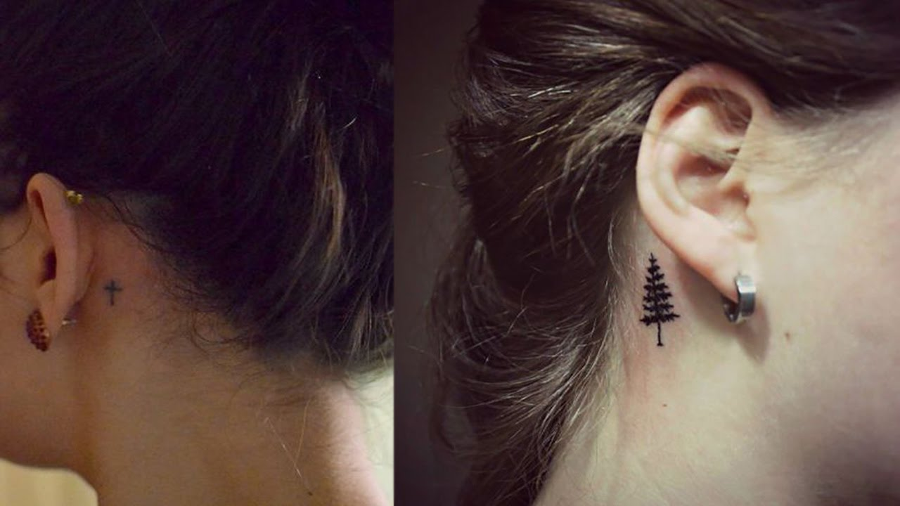 Small tattoos for girls tiny tattoo for women behind ear for Small behind the ear tattoos for girls