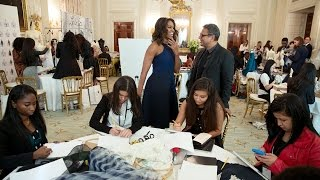 First Lady Michelle Obama Speaks at the Fashion Education Workshop