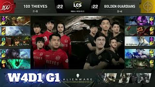 100 Thieves vs Golden Guardians | Week 4 Day 1 S10 LCS Summer 2020 | 100 vs GG W4D1