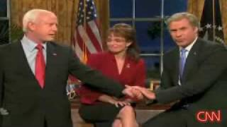 Saturday Night Live SNL Will Ferrell  as Bush endorses McCain Sarah Palin Tina Frey Election 2008