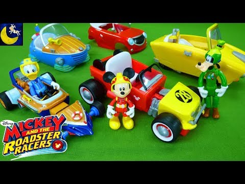Mickey and the Roadster Racers Toys Mickey Minnie Donald Goofy Daisy Transforming Pullback Car Toys!